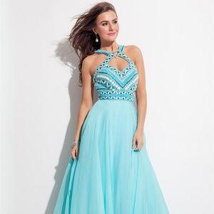 RACHEL ALLAN Aqua Blue Beaded Chiffon Gown! #7072